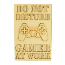 Laser Cut 'Do Not Disturb. Gamer At Work' Gaming Plaque - 3D Playstation Controller - Stencil Wording - Layered Plaque Design