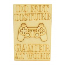 Laser Cut 'Do Not Disturb. Gamer At Work' Gaming Plaque - 3D Playstation Controller - Etched Design