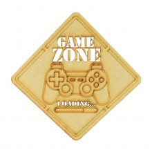 Laser Cut 'Game Zone Loading...' Playstation Controller Sign