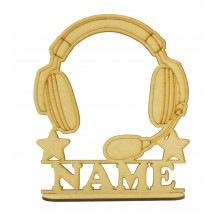 Laser Cut Personalised Gaming Headset Shape on a Stand