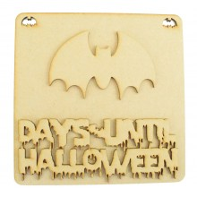 Laser Cut 3D 'Days Until Halloween' Countdown Plaque - Bat Design