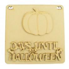 Laser Cut 3D 'Days Until Halloween' Countdown Plaque - Pumpkin Design