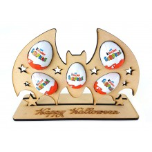 6mm Bat Kinder Egg Holder on a 'Happy Halloween' Stand