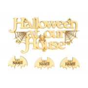 Laser Cut Personalised 'Halloween At Our House' Sign with Hanging Bats - Options Available