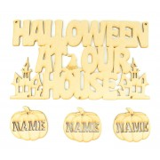 Laser Cut Personalised 'Halloween At Our House' Sign with Hanging Pumpkins - Options Available