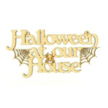 Laser Cut 'Halloween at our House' Sign with Spiders and Webs