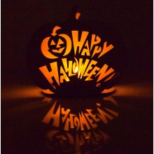Laser Cut 'Happy Halloween' Mini Pumpkin Tealight Holder