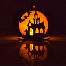 Laser Cut Haunted House Mini Pumpkin Tealight Holder