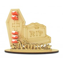 6mm Gravestone & Coffin Shape Kinder Chocolate Bars Halloween Holder on a Stand - Stand Options