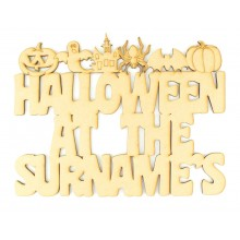 Laser Cut Personalised 'Halloween at the...' Sign with Halloween Shapes along the top