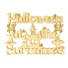 Laser Cut Personalised 'Halloween at the...' Sign with Haunted House
