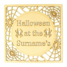 Laser Cut Personalised 'Halloween at the...' in a Spider Web Frame