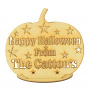 Laser Cut Personalised 'Happy Halloween From The...' Pumpkin Tealight Holder