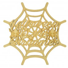 Laser Cut 3D Personalised 'Halloween at the...' Sign on a Spider Web