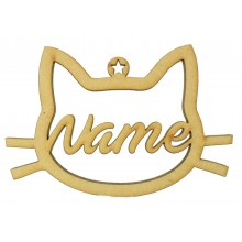 Laser Cut Personalised Hanging Cat Head Frame Decoration