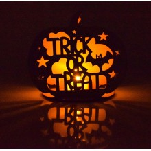 Laser Cut 'Trick or Treat' Mini Pumpkin Tealight Holder