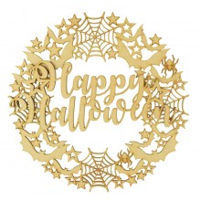 Laser Cut Detailed Bats, Spider Webs and Stars Wreath with 3D 'Happy Halloween' Sign