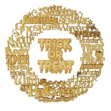 Laser Cut Detailed Halloween Words Wreath with Hanging 'Trick or Treat' Sign