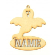Laser Cut Personalised Halloween Tag/Decoration with Stencil Cut Name - Ghost