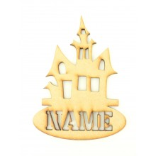 Laser Cut Personalised Halloween Tag/Decoration with Stencil Cut Name - Haunted House