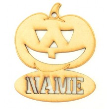 Laser Cut Personalised Halloween Tag/Decoration with Stencil Cut Name - Pumpkin