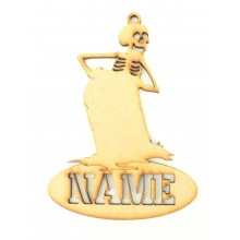 Laser Cut Personalised Halloween Tag/Decoration - Skeleton with Gravestone