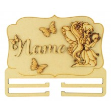 Laser Cut Personalised 3D Large Fairy Themed Plaque with Bow Rail/Holder