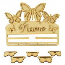 Laser Cut Personalised 3D Large Butterfly Themed Ribbon Plaque with Rail/Hanger and Hanging Shapes