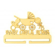 Laser Cut 'Baby Girls Bows' Rail/Holder with Baby Pram, Dummy and Rattle Shapes on top