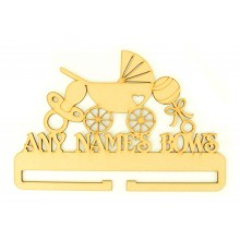 Laser Cut Personalised Large Bow Rail/Holder with Baby Pram, Dummy and Rattle on Top