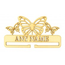 Laser Cut Personalised Large Bow Rail/Holder with Detailed Stencil Cut Butterflies on Top