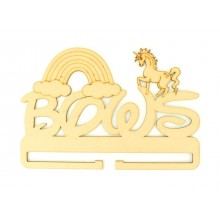Laser Cut 'Bows' Rail/Holder with Unicorn and Rainbow Shapes