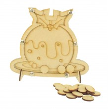 Laser Cut Childrens Christmas Pudding Christmas Countdown Budget Drop Box - 20mm Plain Tokens