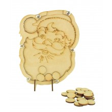 Laser Cut Childrens Santa Claus Christmas Countdown Budget Drop Box - 20mm Plain Tokens