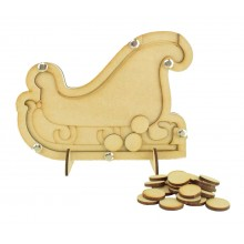 Laser Cut Childrens Sleigh Christmas Countdown Budget Drop Box - 20mm Plain Tokens