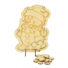 Laser Cut Childrens Snowman Christmas Countdown Budget Drop Box - 20mm Plain Tokens