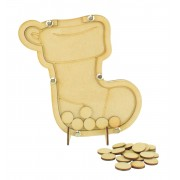 Laser Cut Childrens Stocking Christmas Countdown Budget Drop Box - 20mm Plain Tokens