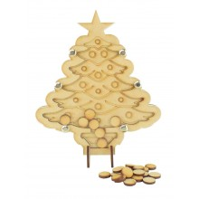 Laser Cut Childrens Christmas Tree Christmas Countdown Budget Drop Box - 15mm Plain Tokens