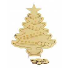 Laser Cut Helter Skelter Christmas Tree Countdown Drop Box - Plain Tokens