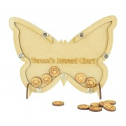 Laser Cut Butterfly Childrens Budget Reward Chart Drop Box - Smiley Face Tokens