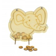 Laser Cut Elephant Childrens Budget Reward Chart Drop Box - Smiley Face Tokens