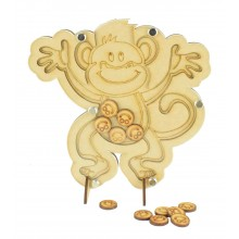 Laser Cut Cheeky Monkey Childrens Budget Reward Chart Drop Box - Smiley Face Tokens