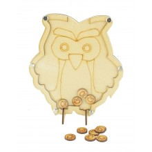Laser Cut Owl Childrens Budget Reward Chart Drop Box - Smiley Face Tokens