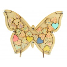 Laser Cut Budget Butterfly Wedding Drop Box with Heart Tokens