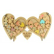 Laser Cut Budget Double Heart with Small Heart Wedding Drop Box with 30mm Heart Tokens