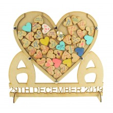 Laser Cut Personalised Heart with Initials and Date Wedding Drop Box with Heart Tokens