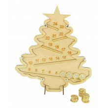Laser Cut Helter Skelter Christmas Tree Drop Box - TO FIT £1 COINS