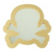 18mm Freestanding MDF Pirate Skull and Crossbones Shape Mirror - Size Options