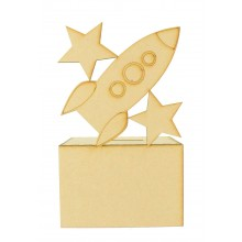 Laser Cut Rocket with Stars Money Box