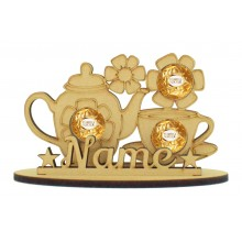 6mm Tea Pot & Cups Shape Ferrero Rocher or Lindt Chocolate Ball Holder on a Stand - Stand Options